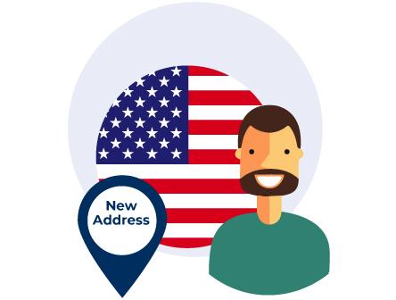 Indirizzo americano con bandiera USA