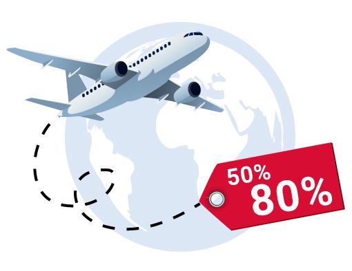 Risparmio sulla spedizione aerea 50% a 80%