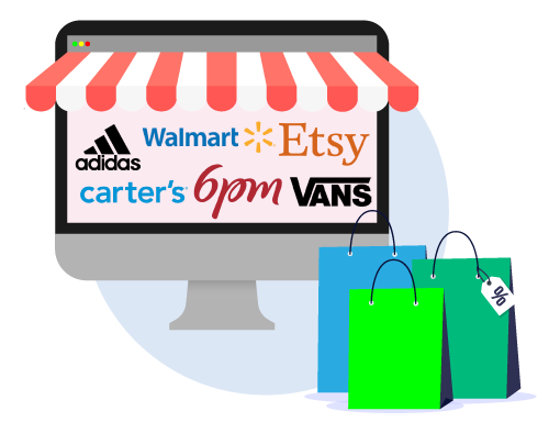 US Online shops - Etsy, Vansa, Walmart, 6pm, Adidas, Carter's