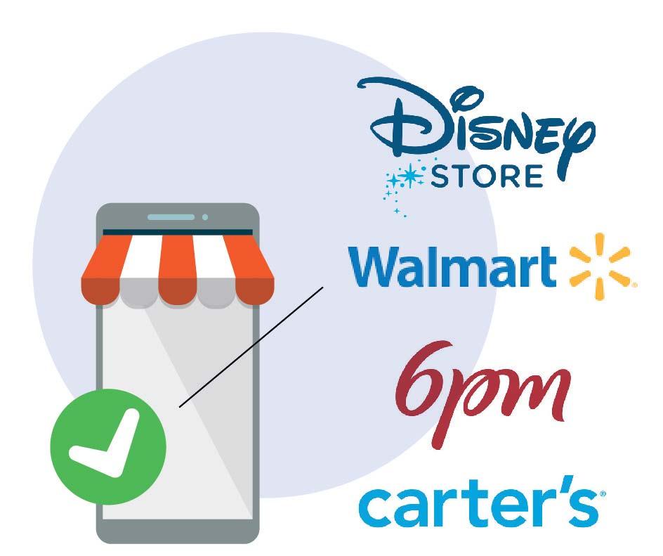 Shops americani: Disney Store, Walmart, 6pm, Carter's