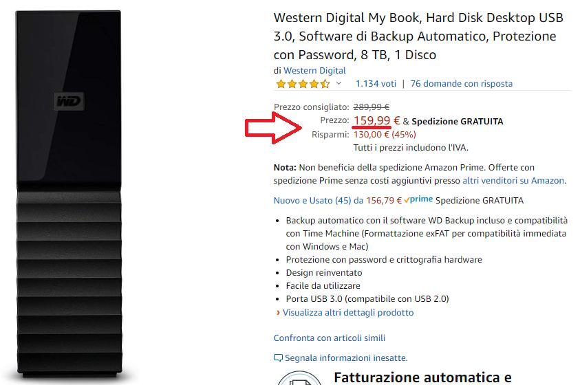 Acquisto di un Hard Disk esterno su amazon.it