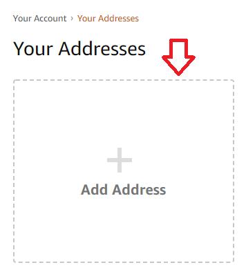 screenshot inserimento indirizzo americano nell'account amazon.com