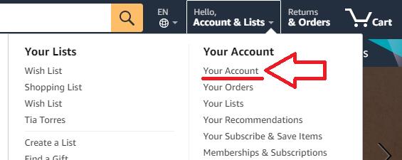 screenshot impostazioni account amazon.com in lingua americana